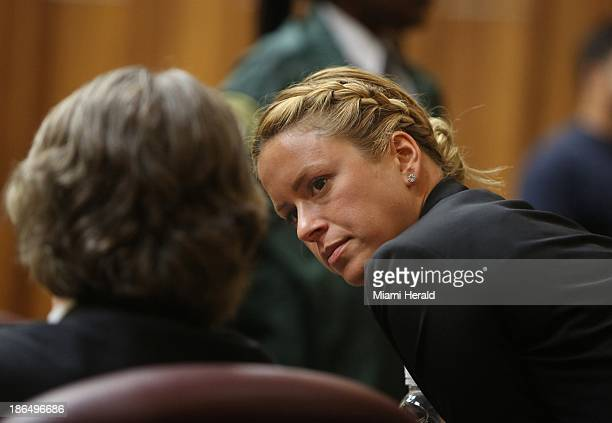 Jackie Garcia Haley, girlfriend of Sean Taylor, talks to attorney Reid Rubin in court as the jury deliberates the fate of Eric Rivera, Jr., who is...