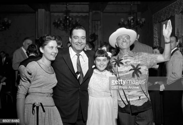 Jackie Gleason celebrates with his daughters Geraldine Gleason Linda Gleason and guests at The Jackie Gleason Show after party at Toots Shors...