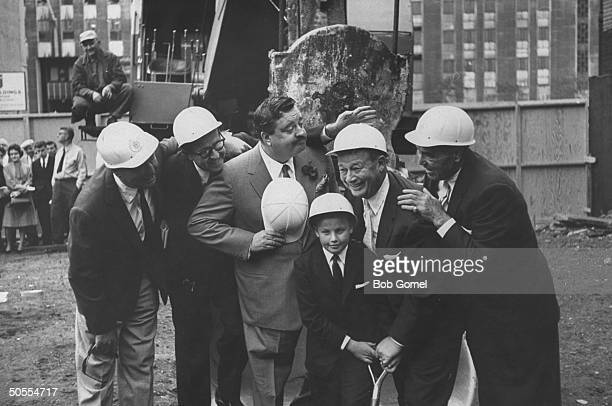 Jackie Gleason Toots Shor and Jack Demsey at ground breaking ceremony for new restaraunt