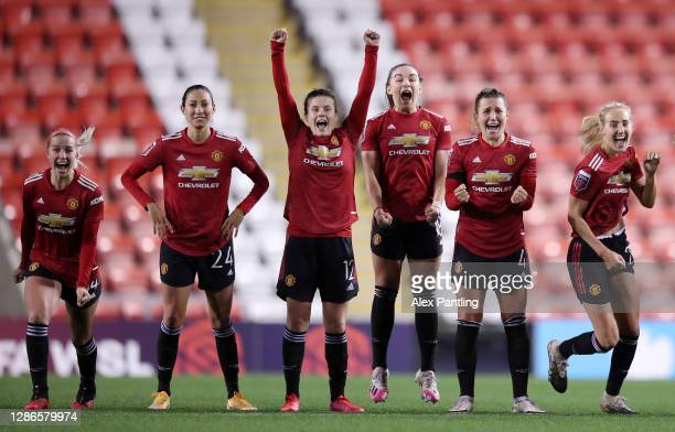 Jackie Groenen, Christen Press, Hayley Ladd, Kirsty Hanson, Amy Turner and Millie Turner celebrate victory in the penalty shoot-out during the FA...