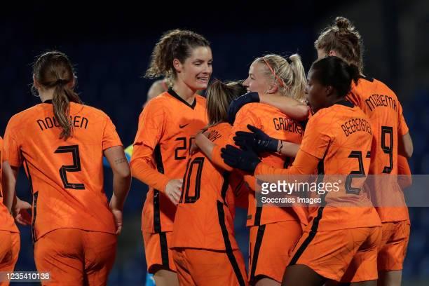 Jackie Groenen of Holland Women celebrates 0-2 with Aniek Nouwen of Holland Women, Dominique Janssen of Holland Women, Danielle van de Donk of...