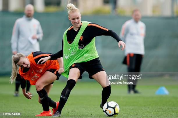 Jackie Groenen of Holland Women, Danique Kerkdijk of Holland Women during the Training Holland Women at the Cascade Resort on March 5, 2019 in Lagos...