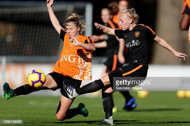 Jackie Groenen of Holland Women, Inessa Kaagman of Holland Women during the Training Holland Women at the KNVB Campus on November 6, 2018 in Zeist...