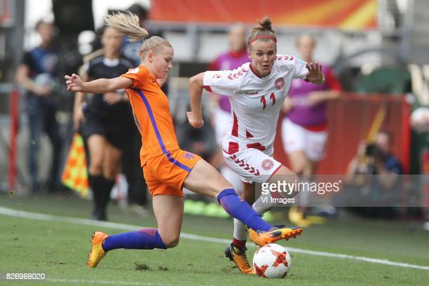 Jackie Groenen of Holland Women Katrine Veje of Denmark women during the UEFA WEURO 2017 final match between The Netherlands and Denmark at the...