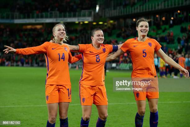 Jackie Groenen of Holland Women Sherida Spitse of Holland Women Dominque Janssen of Holland Women celebrate the victory during the World Cup...