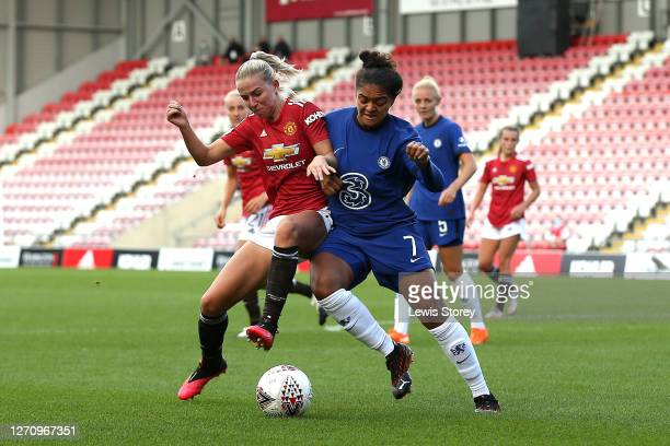 Jackie Groenen of Manchester United battles for possession with Jess Carter of Chelsea during the Barclays FA Women's Super League match between...