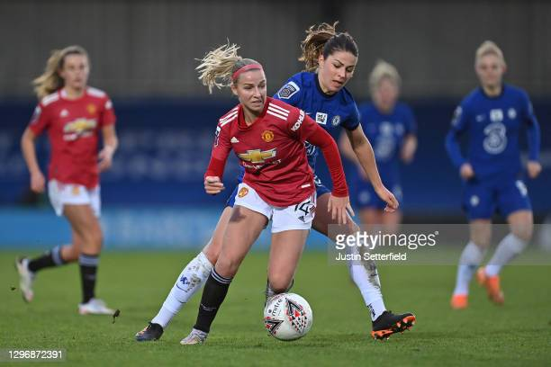 Jackie Groenen of Manchester United runs with the ball under pressure from Melanie Leupolz of Chelsea during the Barclays FA Women's Super League...