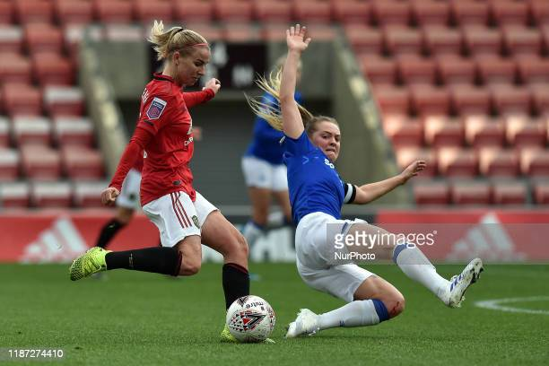 Jackie Groenen of Manchester United Women and Lucy Graham of Everton Women in action during the Barclays FA Women's Super League match between...