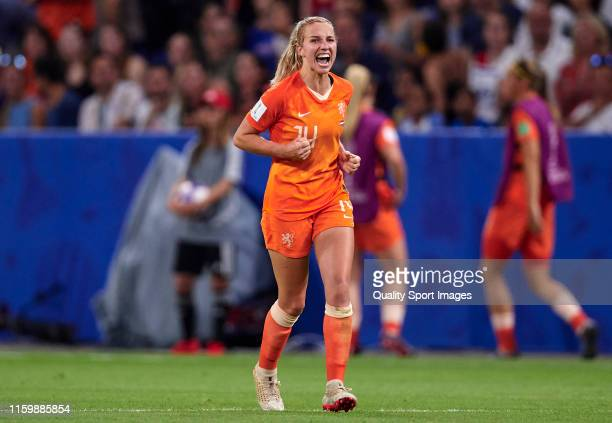 Jackie Groenen of Netherlands celebrates their team's first goal during the 2019 FIFA Women's World Cup France Semi Final match between Netherlands...