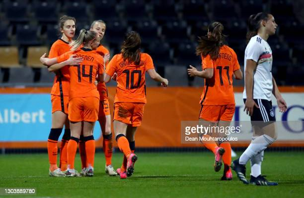 Jackie Groenen of Netherlands celebrates with team mates after scoring their side's first goal during the Three Nations.One Goal. Tournament match...
