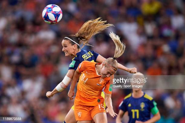 Jackie Groenen of Netherlands competes for the ball with Kosovare Asllani of Sweden during the 2019 FIFA Women's World Cup France Semi Final match...