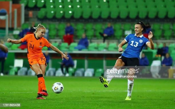 Jackie Groenen of Netherlands scores her team's fifth goal during the UEFA Women's EURO 2022 qualifier match between Netherlands Women's and Estonia...