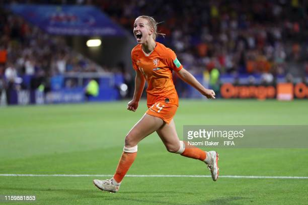 Jackie Groenen of the Netherlands celebrates after scoring her team's first goal during the 2019 FIFA Women's World Cup France Semi Final match...