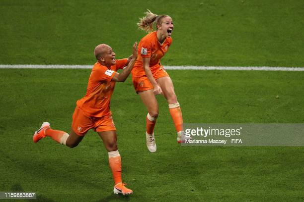 Jackie Groenen of the Netherlands celebrates after scoring her team's first goal with teammate Shanice Van De Sanden during the 2019 FIFA Women's...