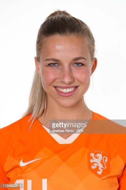 Jackie Groenen of the Netherlands poses for a portrait during the official FIFA Women's World Cup 2019 portrait session at Hotel Novotel Le Havre...