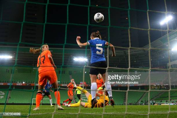 Jackie Groenen of the Netherlands scores a goal past Goalkeeper, Karina Kork of Estonia during the UEFA Women's EURO 2022 qualifier match between...