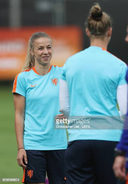 Jackie Groenen of the Netherlands smiles during the Netherlands Training session at SV De Lutte on August 5 2017 in Enschede Netherlands