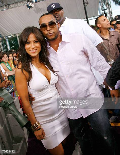 Jackie Guerrido and Don Omar arrive at the Bank United Center for the Premios Juventud Awards on July 19 2007 in Coral Gables Florida