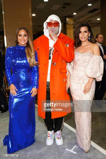 Jackie Guerrido Bad Bunny and Karina Banda backstage at the 20th annual Latin GRAMMY Awards at MGM Grand Garden Arena on November 14 2019 in Las...