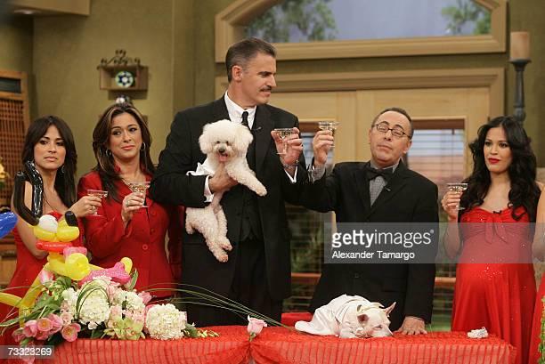 Jackie Guerrido Neyda Sandoval Ron McGill Fernando Arau and Karla Martinez appear at the dog wedding of Cosita and Pucci on Univision's Despierta...