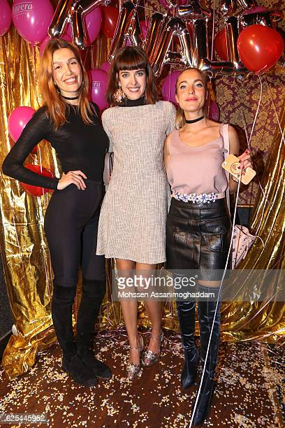 Jackie Hide Marie Nasemann and Larissa Laudenberger attend the launch of Marie Nasemanns' blog 'fairknallt' on November 23 2016 in Hamburg Germany