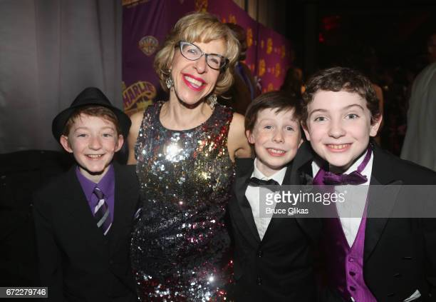 Jackie Hoffman poses with the 3 'Charlies' Jake Ryan Flynn Ryan Foust and Ryan Sell at the opening night after party for the new musical 'Charlie and...