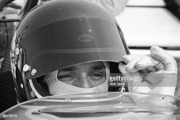 Jackie Ickx in a Ferrari 312B at the Questor Grand Prix at the Ontario Motor Speedway in which Formula One cars competed with Formula A cars on March...