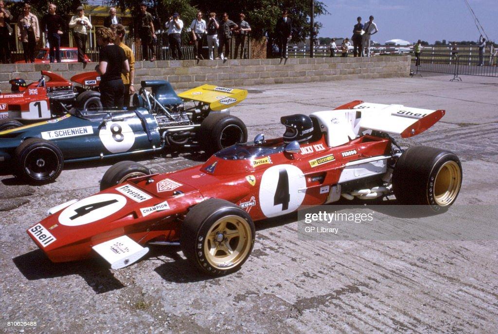 Jackie Ickx in a Ferrari 312T and Tim Schenken in a Brabham BT33 12th. : News Photo