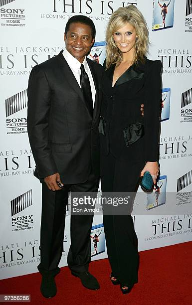 Jackie Jackson and Delta Goodrem arrive at the VIP Tribute show to mark the DVD release of the Michael Jackson documentary 'This Is It' at City...