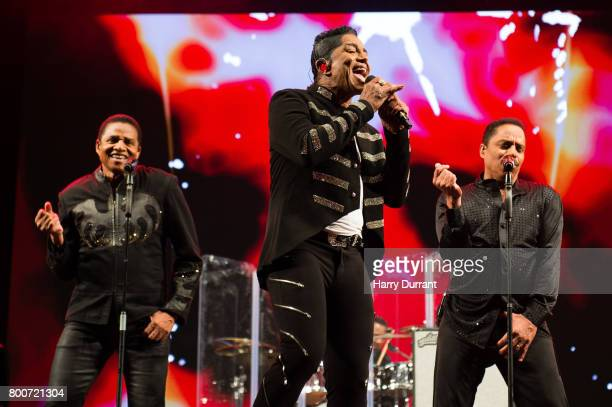 Jackie Jackson Jermaine Jackson and Marlon Jackson from The Jacksons performs on the West Holts Stage on day 3 of the Glastonbury Festival 2017 at...