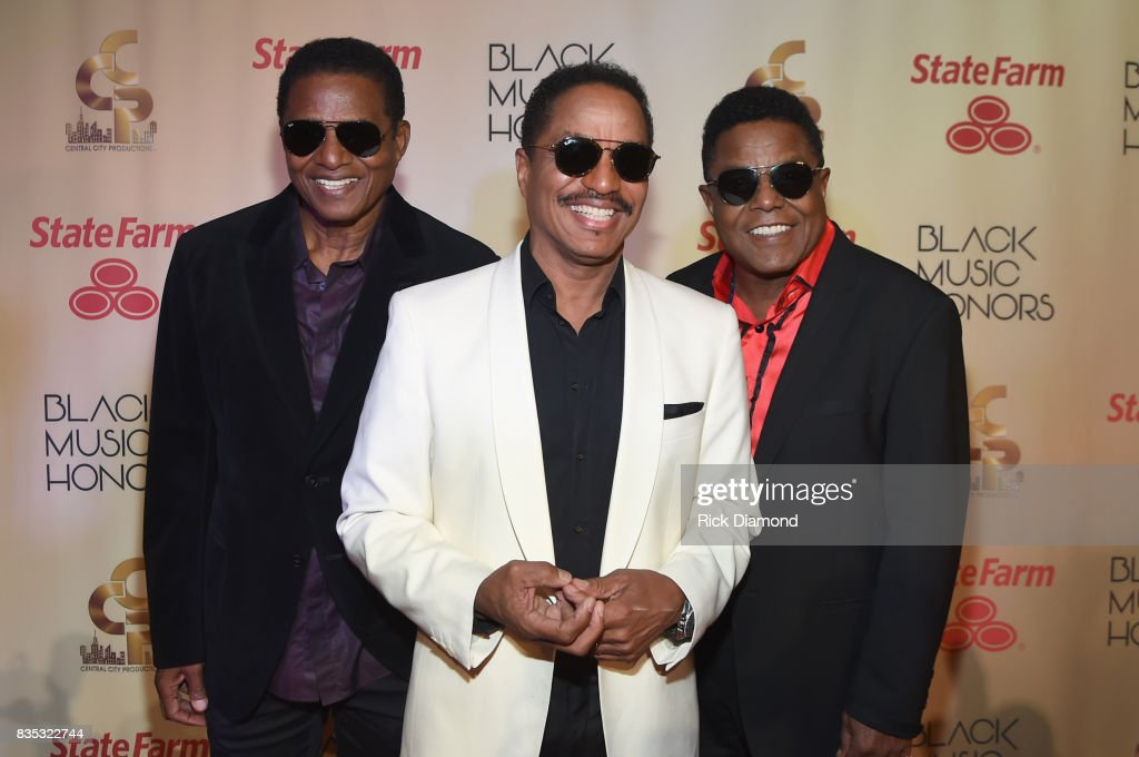 Jackie Jackson, Marlon Jackson and Tito Jackson of The Jacksons arrive at the 2017 Black Music Honors at Tennessee Performing Arts Center on August 18, 2017 in Nashville, Tennessee.