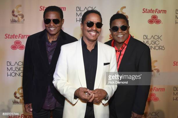 Jackie Jackson Marlon Jackson and Tito Jackson of The Jacksons arrive at the 2017 Black Music Honors at Tennessee Performing Arts Center on August 18...