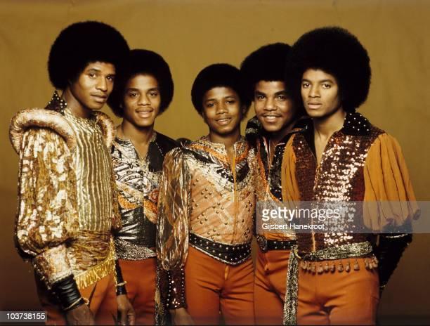 Jackie Jackson, Marlon Jackson, Randy Jackson, Tito Jackson and Michael Jackson of the Jacksons pose for a studio group portrait in 1977 in...