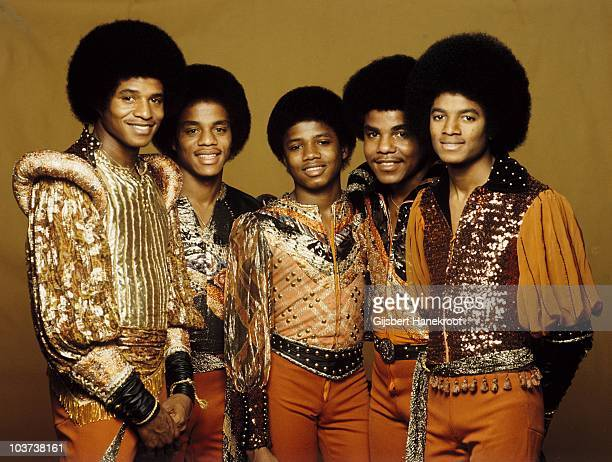 Jackie Jackson Marlon Jackson Randy Jackson Tito Jackson and Michael Jackson of the Jacksons pose for a studio group portrait in 1977 in Amsterdam...