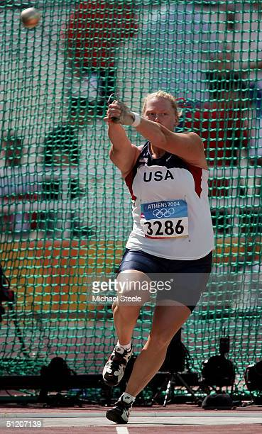 Jackie Jeschelnig of USA competes in the women's hammer throw qualifying round on August 23 2004 during the Athens 2004 Summer Olympic Games at the...