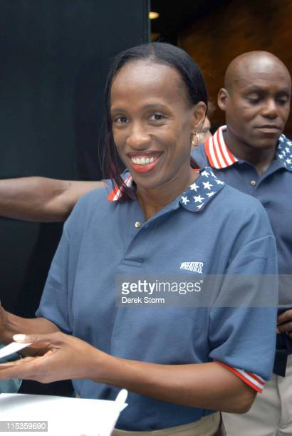 """Jackie Joyner Kersee during """"Good Morning America"""" 2004 Concert Series - Alanis Morissette at GMA Studios in New York City, New York, United States."""