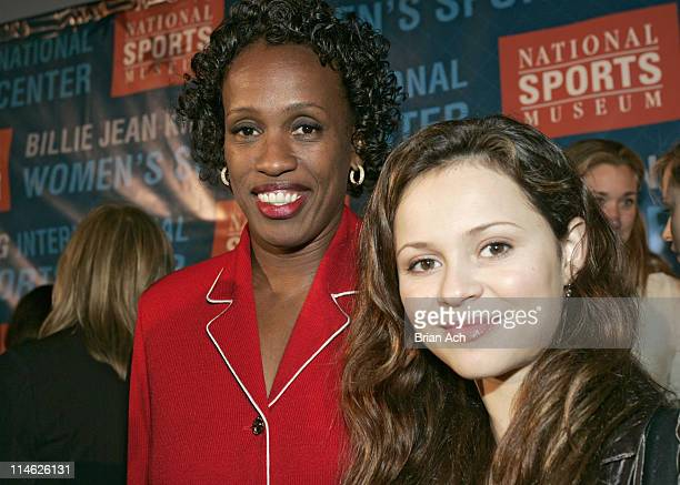 Jackie Joyner-Kersee and Sasha Cohen during Sports Icons Press Conference Unveiling Plans for the Museum's Billie Jean King International Women's...