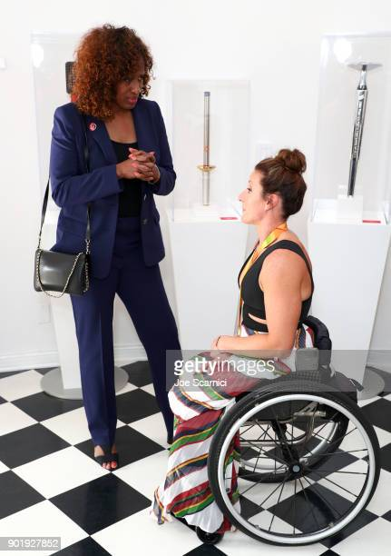 Jackie JoynerKersee and Tatyana McFadden attend GOLD MEETS GOLDEN The 5th Anniversary Refreshed by CocaCola Globes Weekend Gets Sporty with Nicole...