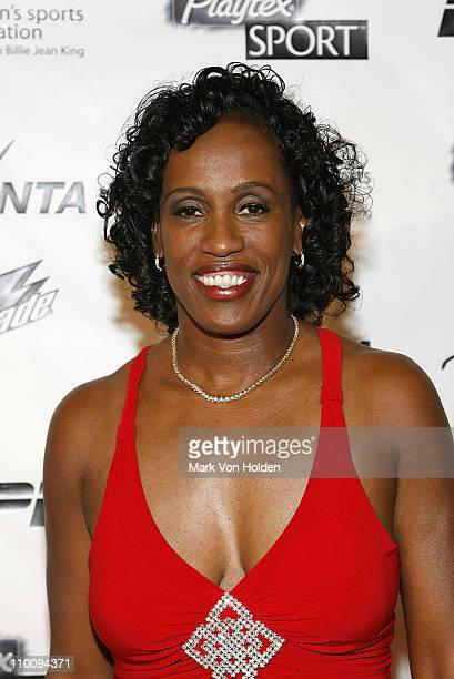 Jackie Joyner-Kersee arrives on the Playtex Sport Pink Carpet at The 28th Annual Salute to Women in Sports Awards Dinner on October 15, 2007 at New...