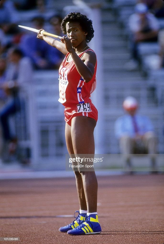Jackie Joyner-Kersee #769 competing in Heptathlon in the Javelin throw event, August 12, 1998 during the 1998 Goodwill Games in New York, New York. Joyner-Kersee won the Gold Metal for the Heptathlon. Joyner-Kersee won the Gold Medal for the Heptathlon.