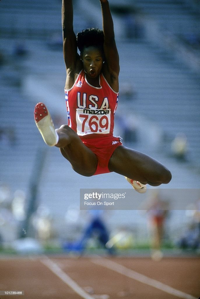 Jackie Joyner-Kersee #769 competing in Heptathlon in the long jump event, August 12, 1998 during the 1998 Goodwill Games in New York, New York. Joyner-Kersee won the Gold Metal for the Heptathlon. Joyner-Kersee won the Gold Medal for the Heptathlon.
