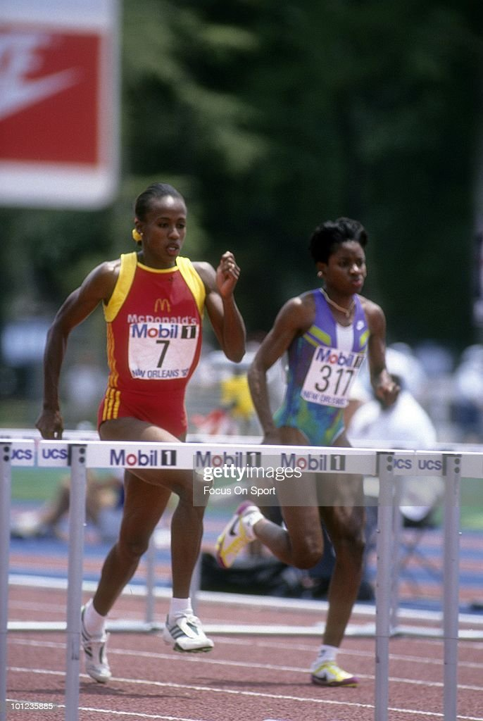 Jackie Joyner-Kersee #7 competing in Heptathlon, running the 100 m hurdles, June 1992 during the 1992 Olympic Trials at Ted Gormley Stadium in New Orleans, Louisiana.