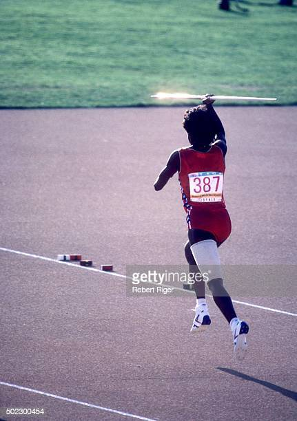 Jackie Joyner-Kersee of the United States runs with a javalin during a portion of the heptathlon at the 1984 Summer Olympic Games in August, 1984 at...