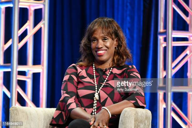 Jackie Joyner-Kersee of Xavier Riddle and The Secret Museum speaks during the PBS segment of the Summer 2019 Television Critics Association Press...