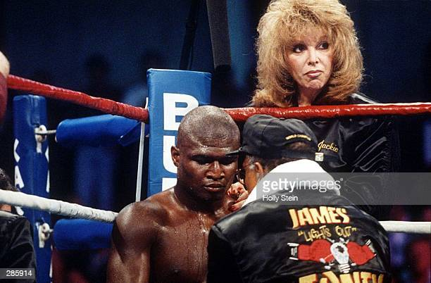 Jackie Kallen right manager of boxer James Toney in the foreground Mandatory Credit Holly Stein/ALLSPORT