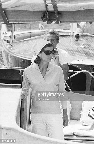 Jackie Kennedy is shown at the Pier of Amalfi en route to Conca dei Marini beach via motorboat and then back from Amalfi to Ravello Villa