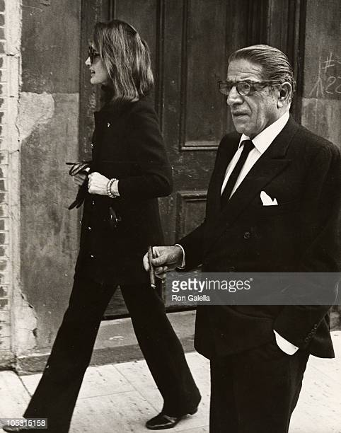 Jackie Kennedy Onassis and Aristotle Onassis during Jackie Onassis & Ari Onassis Walking After Having Lunch at P.J. Clark's at P.J. Clarke's in New...