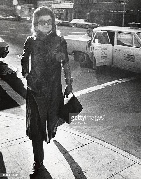 Jackie Kennedy Onassis and Aristotle Onassis during Jackie Onassis Ari Onassis Walking After Having Lunch at PJ Clark's at PJ Clarke's in New York...
