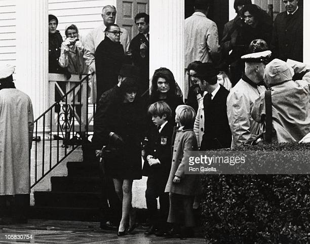 Jackie Kennedy Onassis and John F Kennedy Jr during Funeral of Joseph Kennedy Sr at St Francis of Xavier in Hyannisport Massachusetts United States