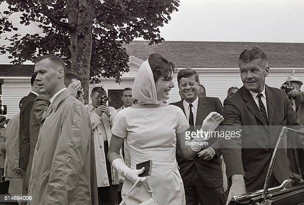 Jackie Kennedy smiles and waves to a woman in the crowd in Hyannis The woman shouted out that she was from Farmington Connecticut where the First...